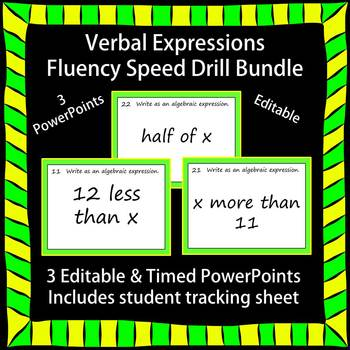 Editable Verbal Expressions Fluency - 3 PowerPoints