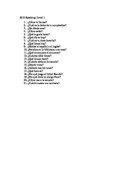 Verbal quiz: Spanish I