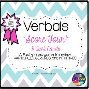 Verbals- PARTICIPLE, GERUND, INFINITIVE-Task Cards & Game
