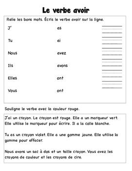 Verbe Avoir Worksheets