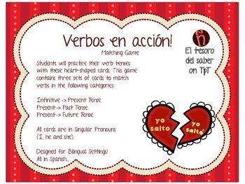¡Verbos en acción! - Matching Game with Worksheets - Spani