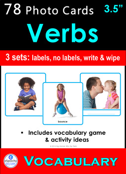 78 *VERBS* Photo Picture Flash Cards & Speech Therapy Idea