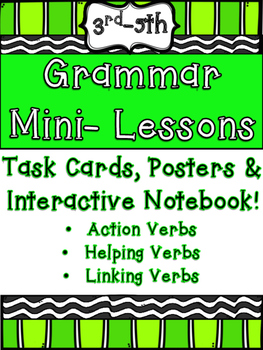 Verbs Grammar Mini Lessons Task Card Interactive Notebook