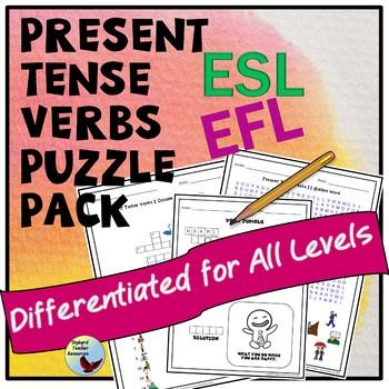 Verbs Puzzle Pack ESL ELL EFL