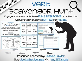 Verbs Scavenger Hunt Activity Packet