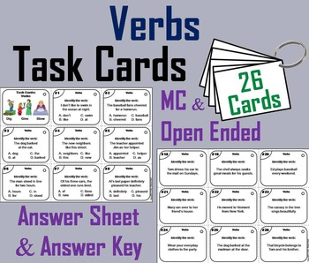 Verbs Task Cards/ Verbs Activity for 3rd and 4th Grade   N