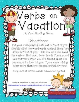 Verbs on Vacation - A Verb Sorting Gmae