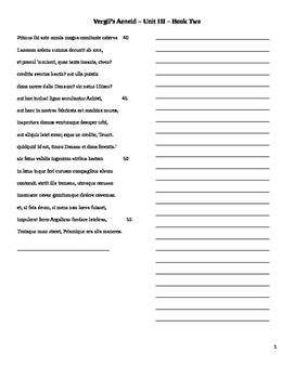 Vergil Unit 3 Translation Sheets
