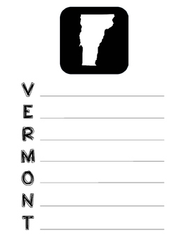Vermont State Acrostic Poem Template, Project, Activity, W