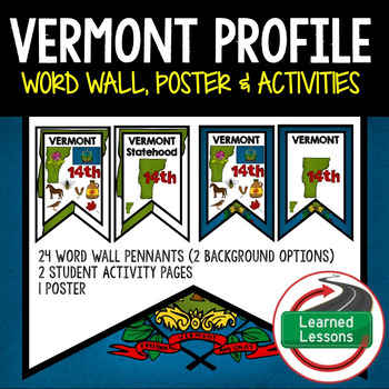 Vermont History Word Wall, State Profile, Activity Pages