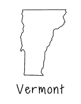 Vermont Map Coloring Page Activity - Lots of Room for Note