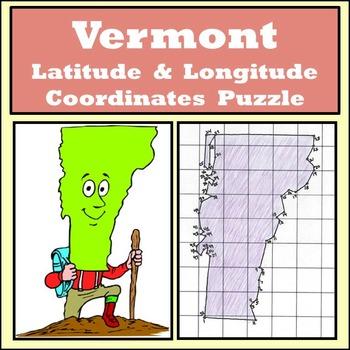 Vermont State Latitude and Longitude Coordinates Puzzle -