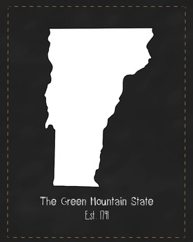 Vermont State Map Class Decor, Government, Geography, Blac
