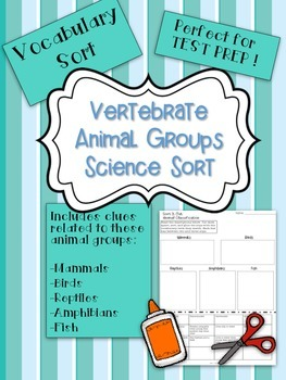 Vertebrate Animal Classification and Vocabulary Sort