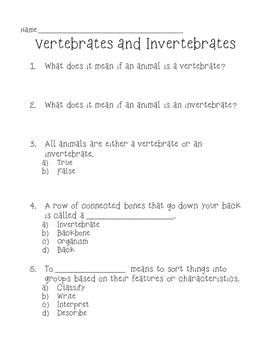Vertebrates and Invertebrates Quiz / Activity