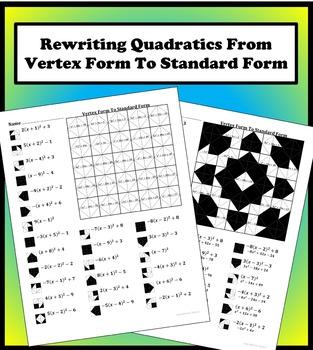 Vertex Form To Standard Form Color Worksheet