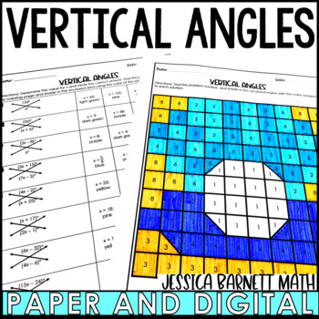 Vertical Angles Coloring Page Activity