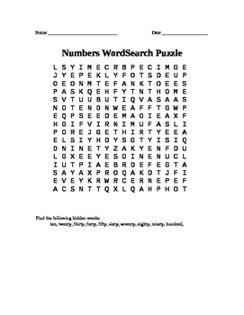 Very Easy Number Word Search - For Counting by Tens.
