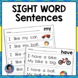 Kindergarten Sight Word Sentences for Guided Reading Level