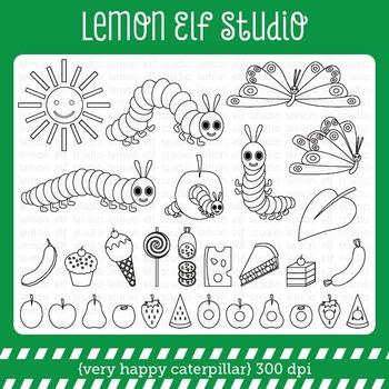 Very Happy Caterpillar-Digital Stamp (LES.DS24)
