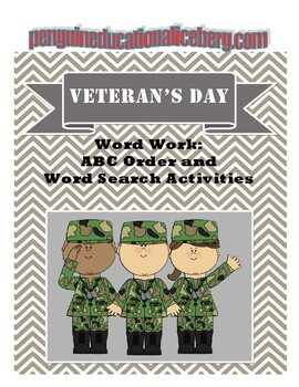 Veteran's Day: ABC Order and Word Search K-3 Activities