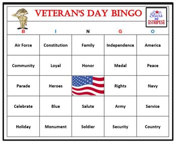 Veteran's Day Bingo Game-Fun and Easy Patriotic Activity (