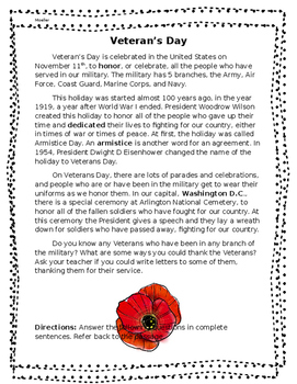 Veteran's Day Nonfiction Passage and Comprehension Questions