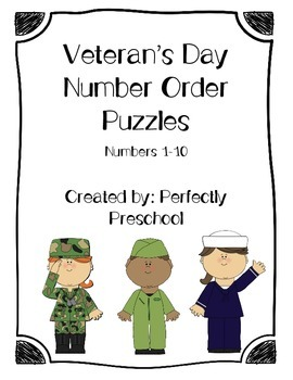 Veteran's Day Number Order Puzzles {Dollar Deal}