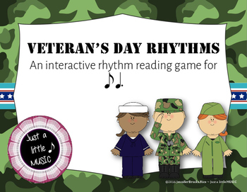 Veteran's Day Rhythms - Interactive Reading Practice Game