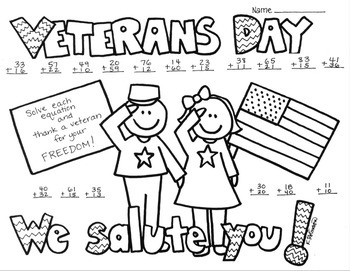 Veterans Day 2 digit (no regrouping) Addition Coloring Pri