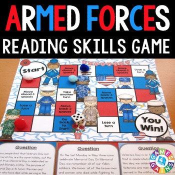 Veterans Day and Memorial Day Activity: Armed Forces Reading Game