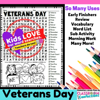 Veterans Day Activity: Veterans Day Word Search: Veterans