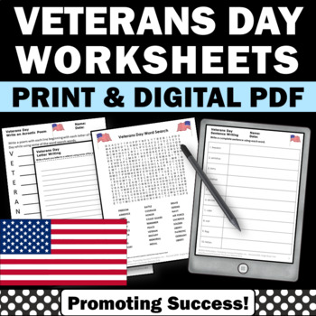 veterans day no prep worksheets for kids