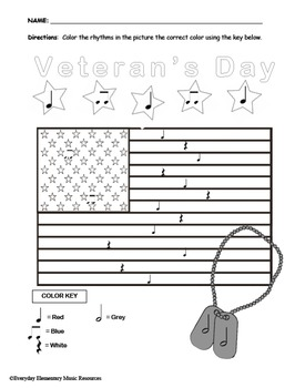 Veterans Day Color By Rhythm- Quarter Notes & Eighth Notes