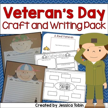 Veterans Day Craft and Writing Pack- Veterans Day Lesson Planning Ideas- poem, fluency, crafts for reading and writing, and assembly lesson plans