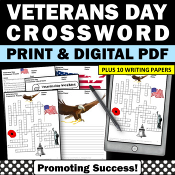 Veterans Day crossword puzzle for kids printable worksheets