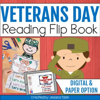 Veterans Day Flip Book- Veterans Day Lesson Planning Ideas- poem, fluency, crafts for reading and writing, and assembly lesson plans