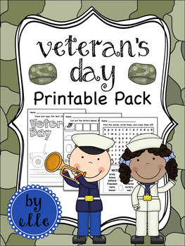Veteran's Day Math and Literacy Printable Pack