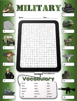 Veterans Day Military Vocabulary Activities