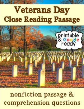 Veterans Day Nonfiction Close Reading Passage