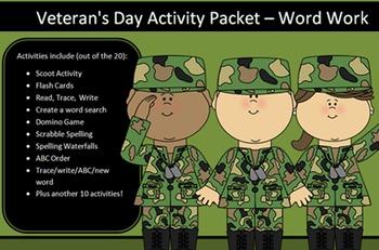 Veteran's Day Packet, 20 words -20 activities of NO PREP w