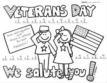 Veterans Day Single Digit Multiplication Coloring Printabl
