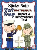 Veterans Day Sticky Note Research Report and Informational Text