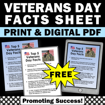 free veterans day facts for kids printable worksheet