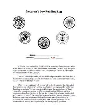 Veterans Day Unit - Nonfiction Texts, Reading Logs, Resear