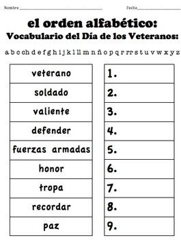 Veterans Day Vocabulary: ABC Order - SPANISH