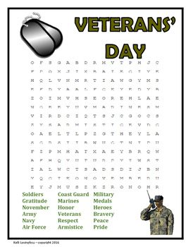 Veterans' Day Word Search