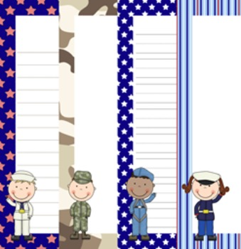 Veterans Day Writing Paper- 3 Styles - 4 Designs