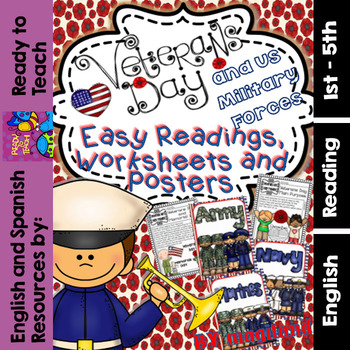 Veterans Day and US Military Forces  (Easy Readings,Worksh