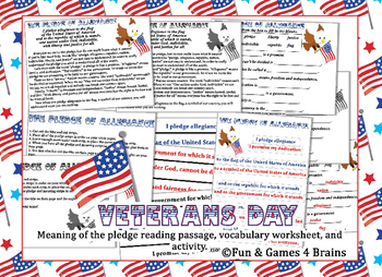 Veterans Day - the meaning of the pledge - reading passage